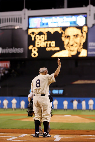 Yogi Berra for the last time at Yankee Stadium (NY Times)