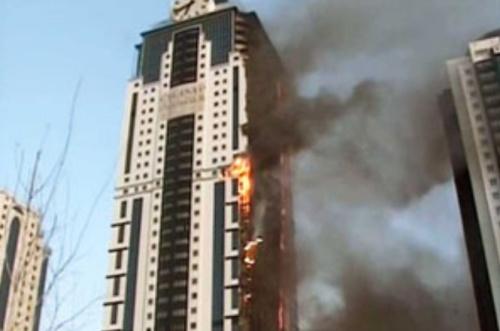 Fire engulfs 40-storey hotel, Chechnya, Grozny