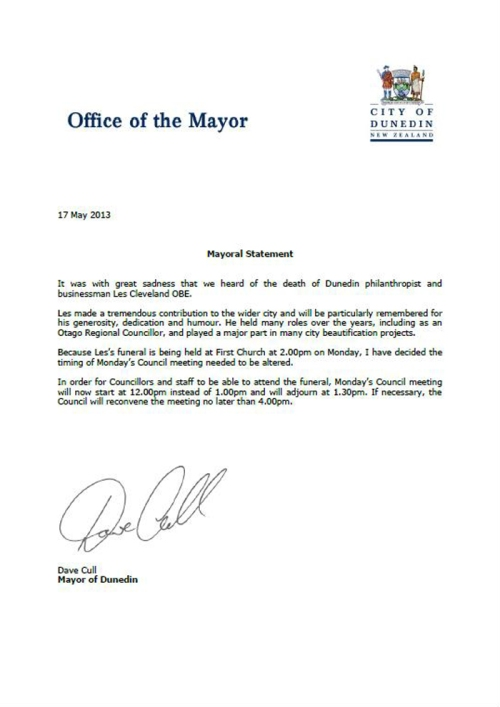 Dunedin Mayoral Statement 17.5.13