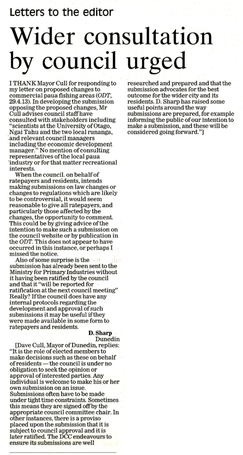 ODT Letter to editor 22.5.13