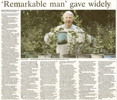 ODT 15.6.13 Les Cleveland - obituary by Nigel Benson (page 32) 1