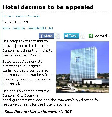 ODT 25.6.13 Hotel decision to be appealed [screenshot]