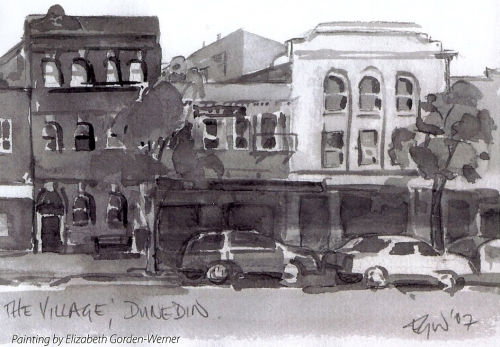 Dunedin - South Princes St (2007), watercolour by Elizabeth Gorden-Werner
