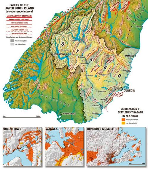 Faults of the lower South Island - maps [odt.co.nz]