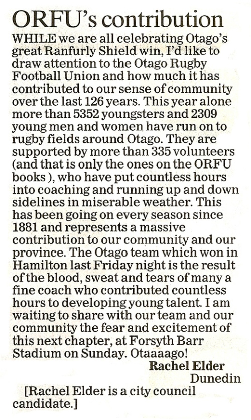 ODT 29.8.13 Letter to editor (page 10)