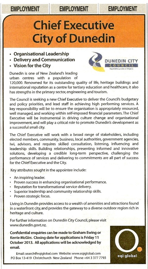 ODT 28.9.13 Employment - Chief Executive City of Dunedin (page 59)