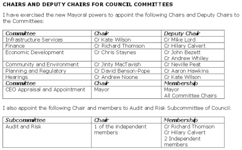 DCC Chairs and Deputy Chairs for Council Committees