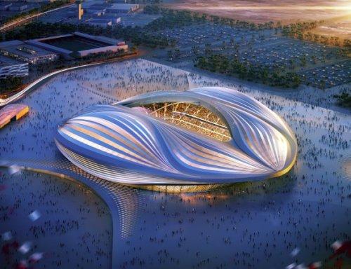 Al Wakrah Stadium, Qatar - concept design, aerial view [zaha-hadid.com]