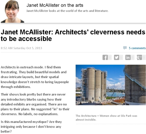 NZ Herald 5.10.13 Art matters 'Architects' cleverness...'