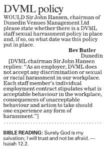ODT 20.12.13 Letter to the editor Bev Butler p14
