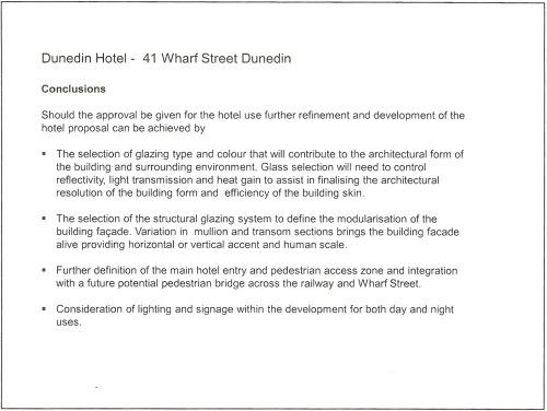 Dunedin Hotel - 41 Wharf Street Dunedin, Conclusions p25