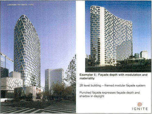 Exemplar 5 Modulation with facade depth and materiality - Langham Xin Tian Di, China p9