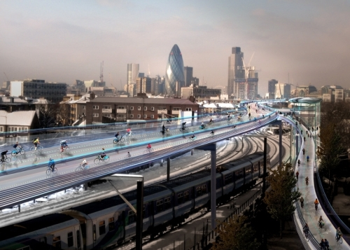 Foster SkyCycling utopia above London railways [dezeen.com]