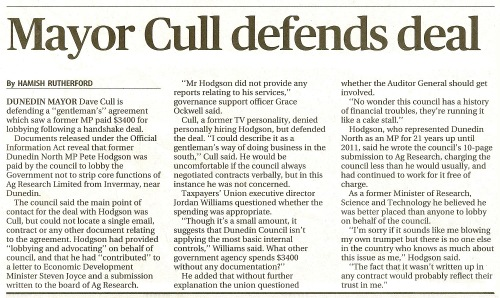 SST 23.2.14 Mayor Cull defends deal (page A9)