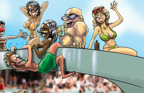 vegaspoolparty by Bryant Arnold 20.6.10 [cartoonaday.com] detail 1