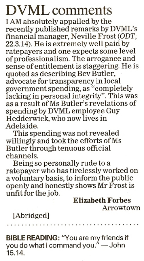ODT 27.3.14 Letter to the editor (page 12)