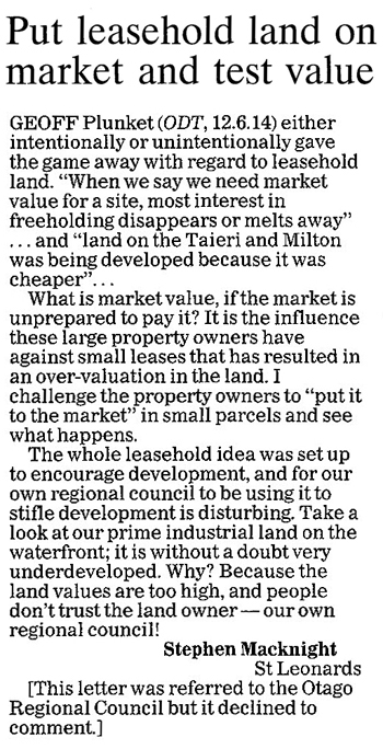 ODT 19.6.14 Letter to editor p12 Macknight