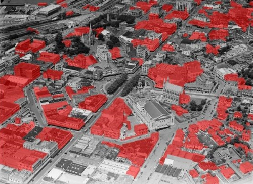 Aerial map of lost buildings (Jonathan Howard, HNZ) 1