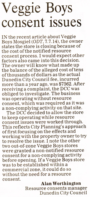 ODT 11.7.14 Letter to the editor Worthington p10