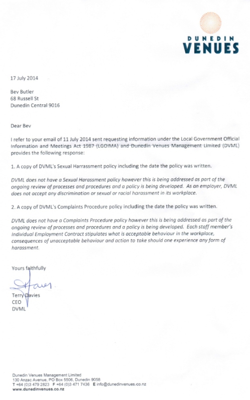 Terry Davies letter 17.7.14 DVML sexual harassment and complaints policies