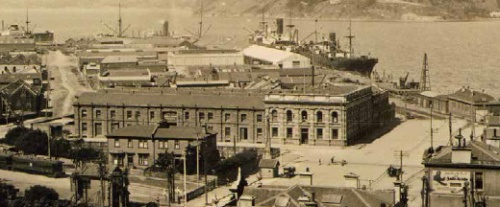 LM Building, detail from A Trapeznik, Dunedin's Warehouse Precinct p68 [Hocken Collections] 1