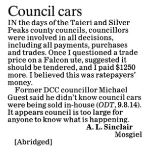 ODT 22.8.14 Letters to the editor Sinclair p10