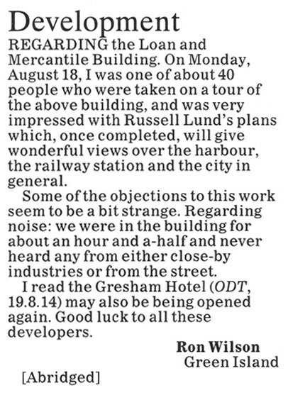 ODT 29.8.14 Letter to the editor Wilson p12 (1)