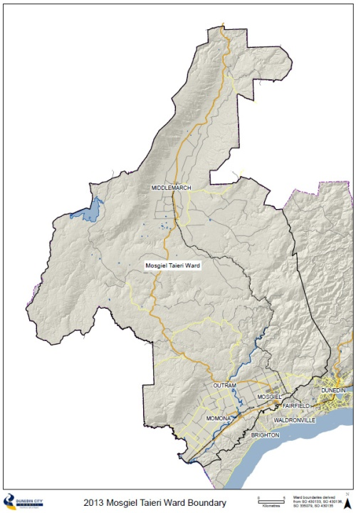 2013 Mosgiel Taieri Ward Boundary map
