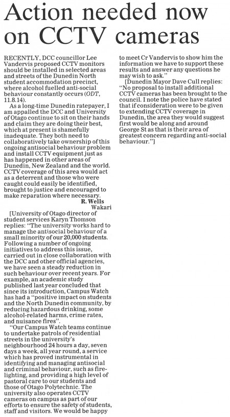 ODT 1.9.14 Letter to the editor Wells [replies University, Mayor] p8 (1)