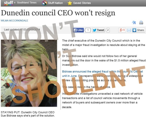 Southland Times 3.9.14 Dunedin council CEO won't resign (stuff.co.nz - screenshot) 14
