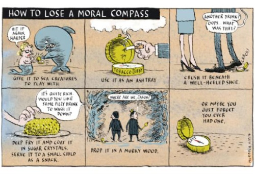 Stuff cartoon 13.4.12 - Sharon Murdoch 'How to Lose a Moral Compass' (1)