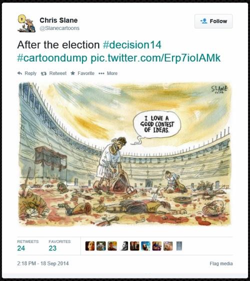 Tweet from Chris Slane (@Slanecartoons) tweeted at 9.18 AM on Fri, Sep 19, 2014 (1)