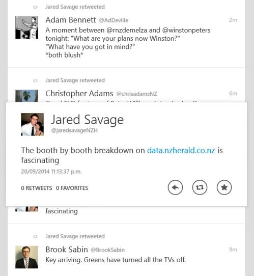 Tweet from Jared Savage (@jaredsavageNZH) 20.9.14 11.13 pm