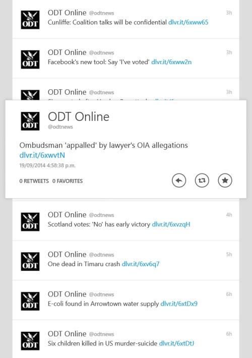 Tweet from ODT Online (@odtnews) tweeted at 4.58 PM on Fri, Sep 19, 2014