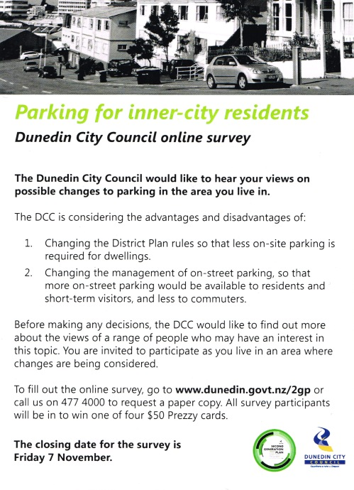 DCC residential parking survey flyer Oct 2014