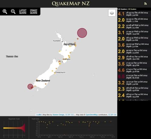 QuakeMap NZ 16.10.14 at 9.36 pm