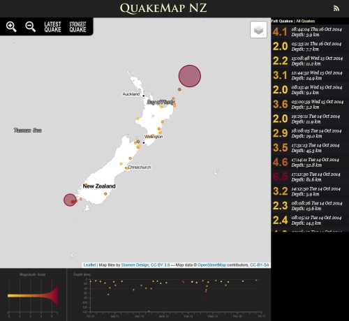 QuakeMap NZ 16.10.14 at 9.36 pm