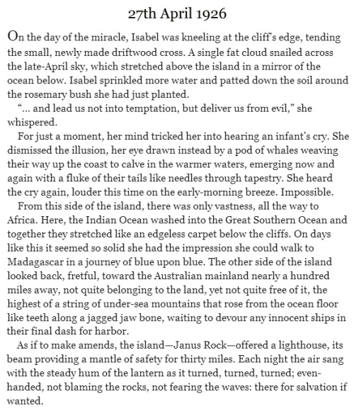 The Light Between Oceans by ML Stedman [excerpt]