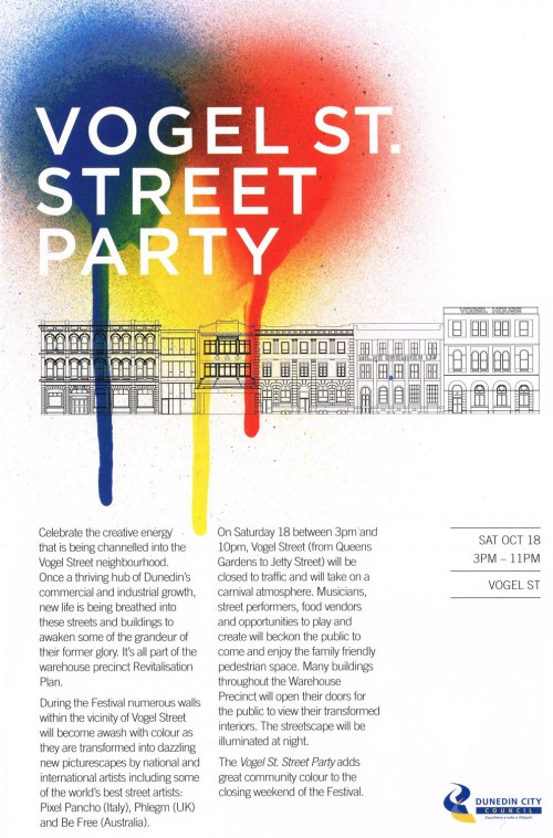 Vogel St_Street Party Sat 18 Oct 3pm-11pm