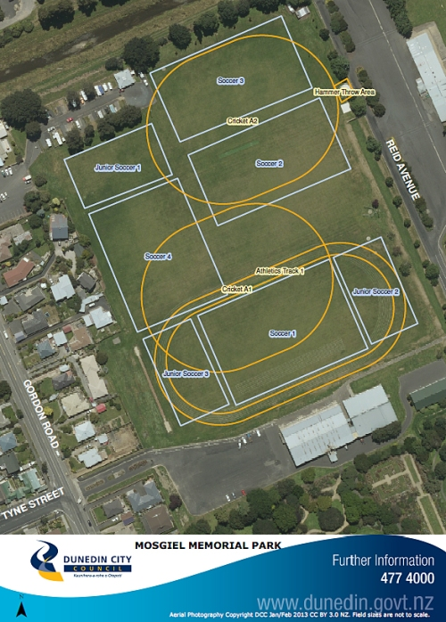 DCC Map - Mosgiel Memorial Park (playing fields)