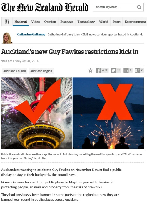 NZHerald 31.10.14 Auckland's new Guy Fawkes restrictions kick in (article)