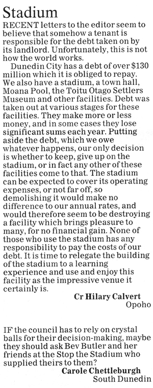 ODT 28.11.14 Letters to the editor Calvert Chettleburgh p12