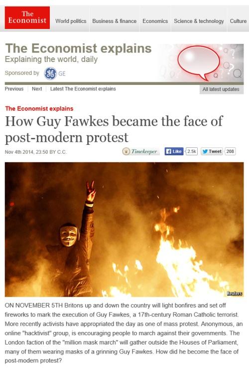 The Economist 6.11.14 Guy Fawkes face post modern protest [economist.com]