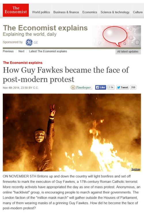 The Economist 6.11.14 Guy Fawkes face post modern protest [economist.com]
