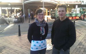 University students Georgi Hampton and Alexi Belton [Photo by RNZ Ian Telfer]