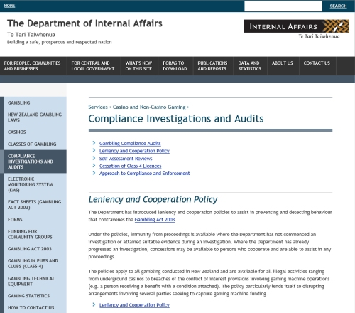 DIA Gambling compliance investigations and audits