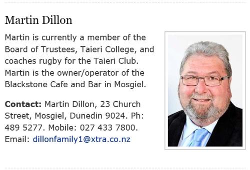 Martin Dillon profile, Mosgiel-Taieri Community Board 1