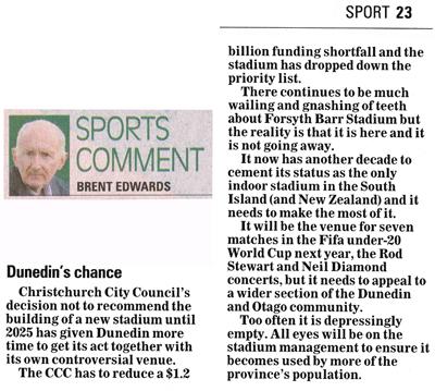 ODT 10.12.14 Sport Brent Edwards 'Dunedin's chance' p23