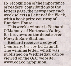 ODT 13.12.14 Letter of the Week O'Mahony p30 (detail)