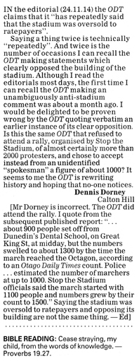 ODT 29.11.14 Letter to the editor Dorney p34